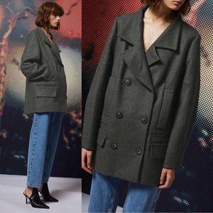 TopShop Grey Menswear Inspired Peacoat Jacket